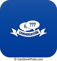 Conversation icon blue vector