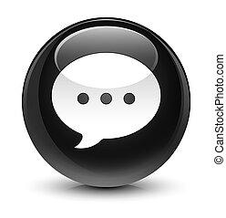 Conversation icon glassy black round button