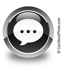 Conversation icon glossy black round button