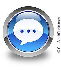 Conversation icon glossy blue round button