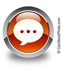 Conversation icon glossy brown round button