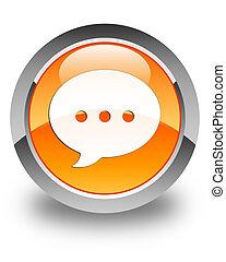 Conversation icon glossy orange round button