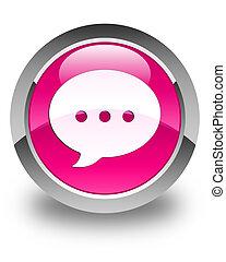 Conversation icon glossy pink round button