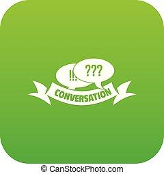 Conversation icon green vector