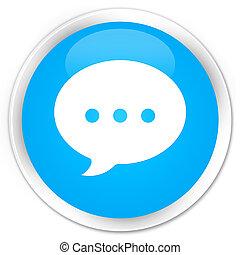 Conversation icon premium cyan blue round button