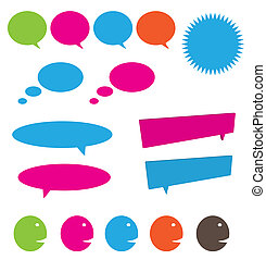 Conversation icon set including speaking and thinking bubbles