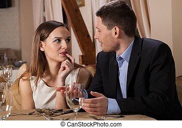 Conversation in a restaurant