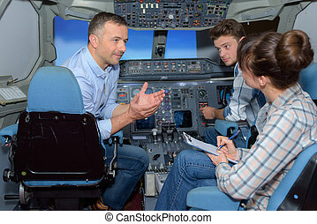 conversation in the aircraft simulator