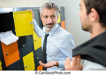 conversation in the office locker