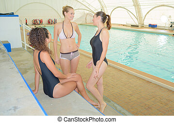 conversation in the public pool