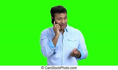 conversation, indien, téléphone., excité, homme