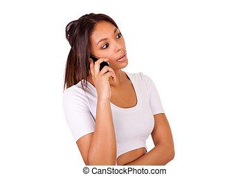 conversation, jeune, téléphone, africaine, portrait, girl