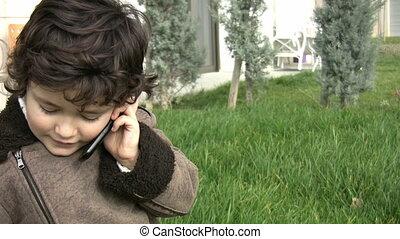 conversation, jeune, téléphone, garçon