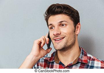 conversation, jeune, téléphone portable, closeup, homme, heureux