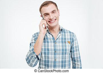 conversation, jeune, téléphone portable, séduisant, homme, heureux