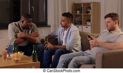 conversation, mâle, bière, boire, amis, maison