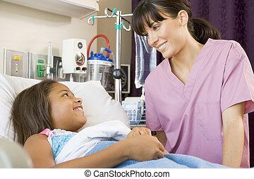 conversation, malade infirmière, jeune