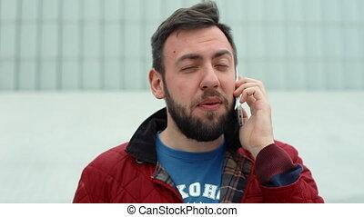 conversation, mobile, séjour, téléphone, homme, beau