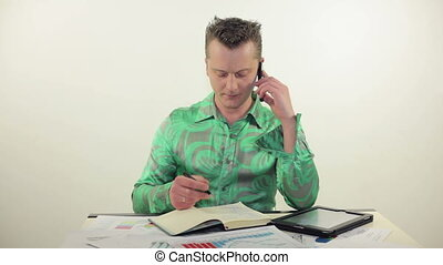 conversation, o, bureau, homme affaires