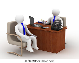 Conversation of two businessmen. Isolated 3D image