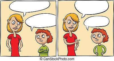 Conversation Panels - Two cartoon panels of a woman talking...