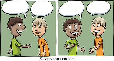 Conversation Panels - Two cartoon panels of two boys having...