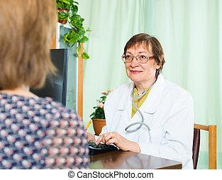 conversation, patient, docteur féminin