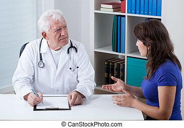 conversation, patient, pratiqué, docteur