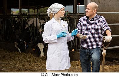 conversation, paysan, vétérinaire
