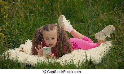 conversation, peu, téléphone, girl