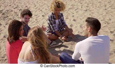 conversation, plage, groupe, amis, séance