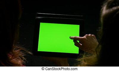 conversation, pointage, tablette, regarder, jeune, contenu, ...