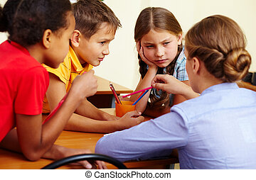 Conversation - Portrait of smart schoolchildren and their ...