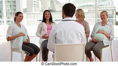 conversation, pregnant, ensemble, femmes
