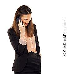 conversation, professionnel, jeune, téléphone