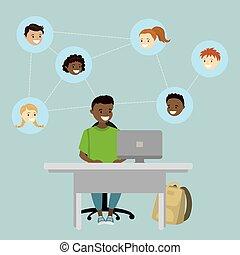 conversation, réseaux, social, américain, garçon, africaine, bavarder, dessin animé, adolescent