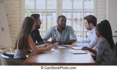 conversation, réunion, patron, international, africaine, professionnels, équipe