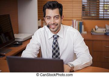 conversation, représentant, latin, ventes, client