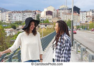 conversation, rue, filles