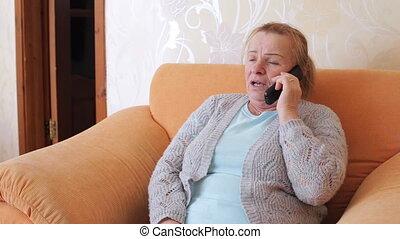 conversation, séance, grand-mère, téléphone, quoique, chaise