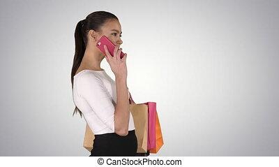 conversation, sacs, marche, achats femme, téléphone, mobile, jeune, gradient, arrière-plan.