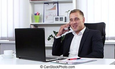 conversation, sien, homme affaires, téléphone bureau