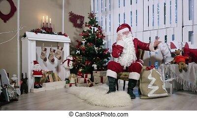 conversation, sien, salle, téléphone, gifts., balançoire, arbre, bras, santa, numérique, cheminée, noël