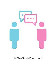 conversation, silhouette, bavarder, gens, simple, autre., social, media., deux, une, bubbles., vecteur, femme, chaque, mâle