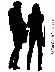 conversation, silhouette, deux femmes