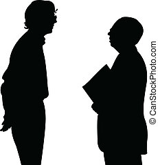 conversation, silhouettes