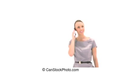 conversation, smartphone, femme affaires