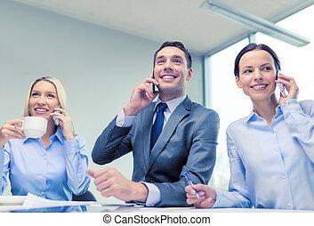 conversation, smartphones, avoir, equipe affaires
