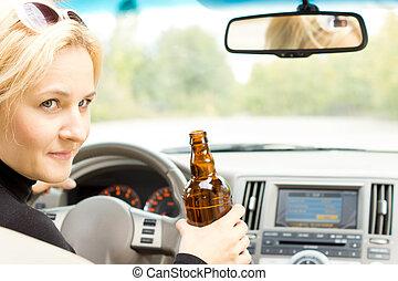 conversation, sourire, chauffeur, boire, femme
