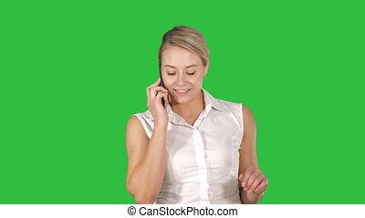 conversation, style de vie, affaires femme, gens, chroma, écran, téléphone, vert, key., portrait, sourire, concept: